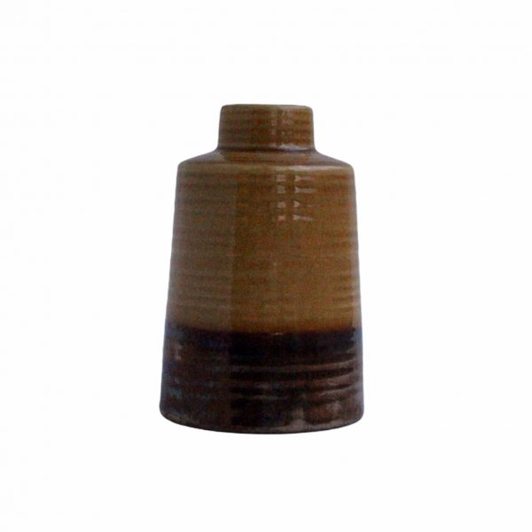 Geel bruine vaas keramiek 18 cm