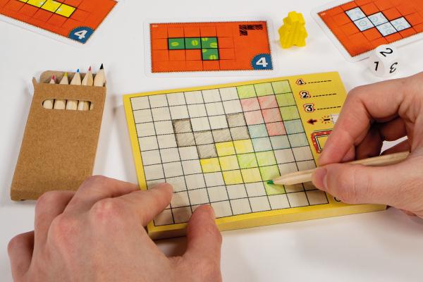 Patchwork doodle dobbelspel speelsituatie